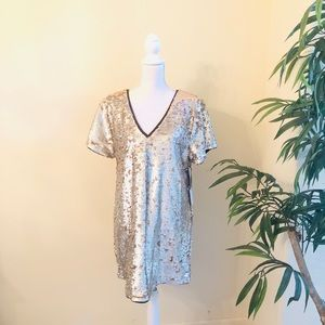 NEW 1. State Silver and Gold Sequins Dress